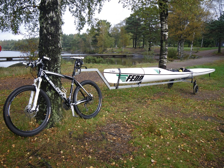 A bike, a custom made cart and a surfski. Great combo! :)