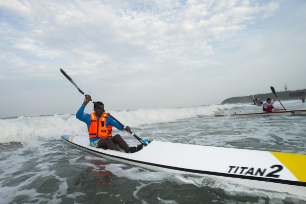 Sipho Luthuli cantered home having negotiated the tricky surf in the McCarthy Toyota Kingsmead Durban Surfski Challenge, race three of the 2014 Varsity College Marine Surfski Series.