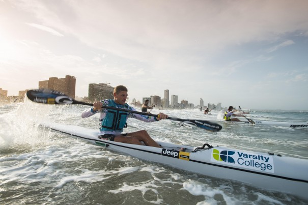 Hank McGregor (Fenn/Team Jeep) destroyed the rest of the field en route to victory in the McCarthy Toyota Kingsmead Durban Surfski Challenge, race three of the 2014 Varsity College Marine Surfski Series, giving himself the perfect birthday present in the process