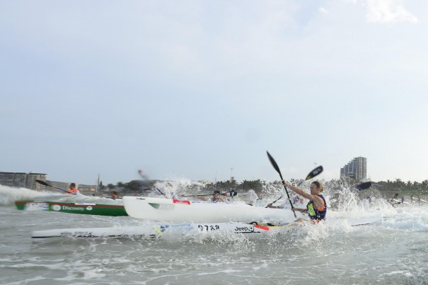 Michelle Burn (Fenn/Team Jeep) dominated proceedings in the ladies race of the McCarthy Toyota Kingsmead Durban Surfski Challenge, race three of the 2014 Varsity College Marine Surfski Series.