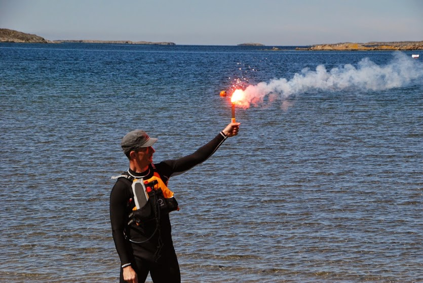 Flare demonstration during the safety instruction