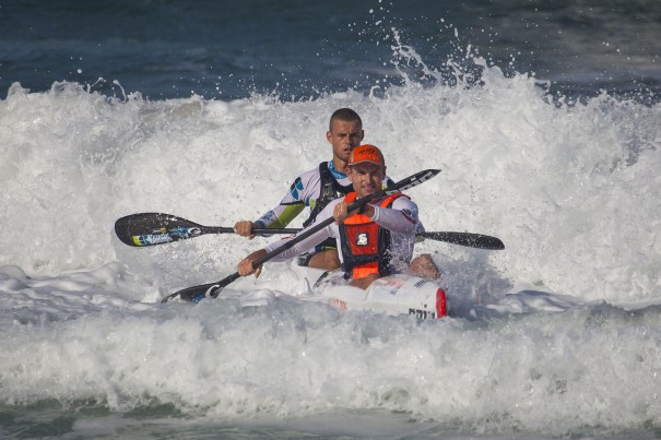 Epic Kayaks/Team Jeep's Hank McGregor (front) and Grant van der Walt (back) claimed third place in Sunday's doubles race of the FNB Mazars Durban Downwind, which doubles as the 2014 SA S1 Surfski Championships. (Photo: Jon Ivins/Gameplan Media)